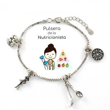 PULSERA PROFESIÓN NUTRICIONISTA EN PLATA, VENDEDOR LOCAL REGIÓN DE MURCIA, TANTEA